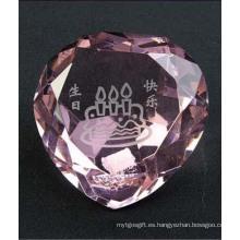 Diamante de forma de corazón de cristal para la decoración del hogar