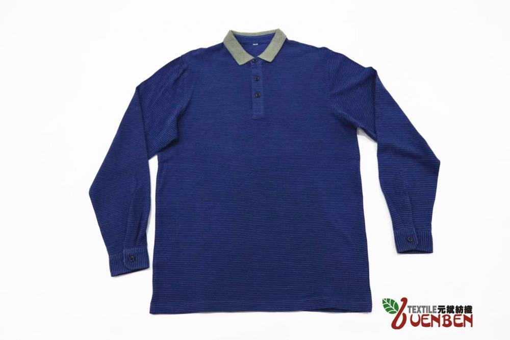 100%Cotton Jacquard Collar Long Sleeve
