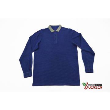 100% algodón cuello jacquard manga larga