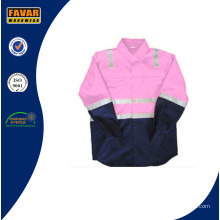 Children Pink & Navy Blue Wholesale with 100% Cotton Drill High Visibility Reflective Tape Shirt