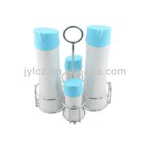 conjunto de 4 botellas de almacenamiento de vinagre de aceite con soporte de metal