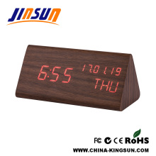 Triangle Shape Wooden Led Alarm Clock With Calendar