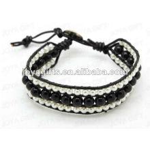 Amistad Negro Onyx Round Beads Wrap Pulseras