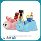 Desk Organizer 3 Storage Compartments Premium Caddy School Office Stationery Remote Control holder Pen Pencil Holder, Rabbit cat