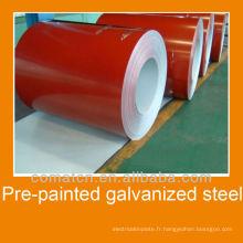 Bobines d'acier galvanisé pré-peint en rouge