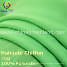 Tecido chiffon de Habijabi do poliéster 75D para o vestido do vestuário (GLLML235)