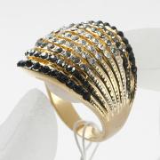 Raffinata lega di metallo strass cristallo anello con 18K placcato oro gioielli all'ingrosso