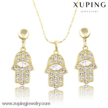 63758 xuping fashion hand design charm design 14k gold color jewelry set