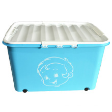Creative Design Plastic Storage Container Box with Wheels (SLSN045)