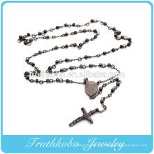 Chapado en vacío Negro Jesús Cruz Virgen María Cristiano 4 mm Rosario Collar de perlas Joyería