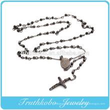 Vácuo Banhado A Preto Jesus Cruz Virgem Maria Cristã 4mm Rosário Beads Colar de Jóias