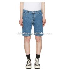 Clássico luz azul lavado denim meia calça jeans por atacado baratos shorts