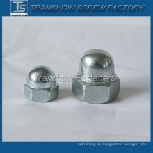 Tuerca de tapa de cabeza hexagonal de acero galvanizado (DIN1587)