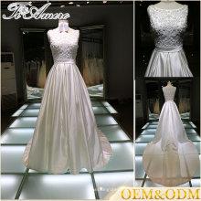 Chine à la main sans manches long train A ligne de robes de mariée robe de soirée