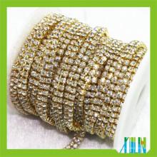 Chaîne de coupe diamante à base d'or multi-rangs