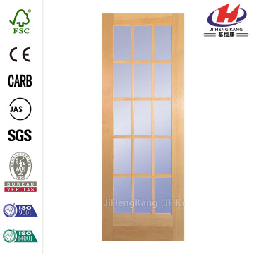 30in Clear Pine Wood French Interior Door