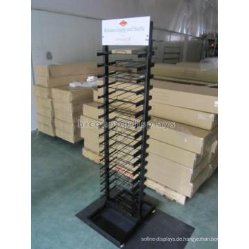 Kundenspezifische Wire Shelving Black Metal Freistehende 36 Stück Slab Stone Keramik Fliesen Display Regale