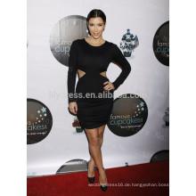Schwarze Mantel Knie-Länge O-Ansatz Langarm-Bauch-Belüftung Kundenspezifische rote Teppich-Feier-Kleider KD001 Kim-Kardashian Kleider