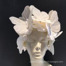 White Big Butterfly Headband Flower Fascinator White headpiece