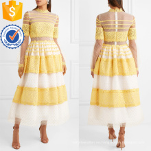 Vestido de verano de manga larga Maxi de encaje blanco y amarillo de Tulle fabricación al por mayor de ropa de mujer de moda (TA0299D)