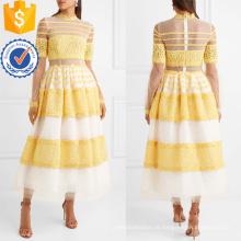 Lace Tulle Branco E Amarelo Long Sleeve Maxi Vestido De Verão Fabricação Atacado Moda Feminina Vestuário (TA0299D)