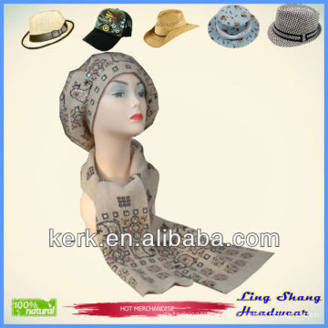 Ladies designer hat and scarf sets winter sets knitted hat and scarf Wool Winter Hat and Scarf for women wholesale , LSA02