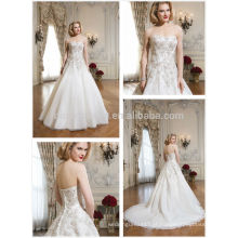Stunning 2014 Strapless Long Tail Organza vestido de noiva vestido de baile com Applique Beads Accent Alibaba vestido de noiva Hot Sale NB0652