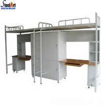Modern dormitory metal double bunk bed with desk and wardrobe