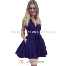 Дешевые Пром Платье Женщины Кружева Бусины Короткие Коктейль Платье 2017