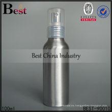 Botella de aluminio del aerosol de la niebla de 100ml plata para la venta, botella de aluminio cosmética, botellas cosméticas del envase de empaquetado