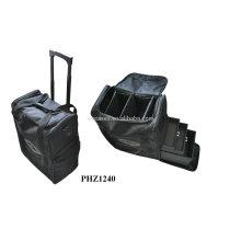 venta caliente de alta calidad & cuero bolso cosmético con 2 ruedas y 3 bandejas extraíbles dentro de