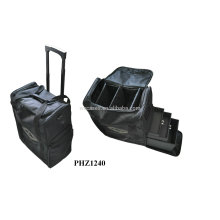 high quality&hot sell leather cosmetic bag with 2 wheels&3 removable trays inside