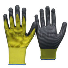 NMSAFETY 13 Gauge yellow Nylon Gloves with Grey foam Nitrile Coated Palm and Fingers