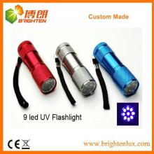 Fábrica de buena calidad baratos de buena calidad Multicolor Handheld de aluminio 9 LED Blacklight linterna UV linterna