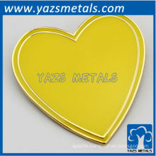 custom high quality yellow heart lapel pins