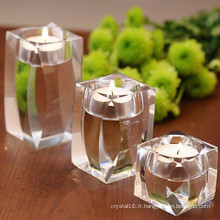 Titulaire romantique de photophore en verre de cristal pour la décoration