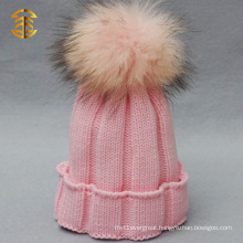 Custom Girls Fashion Crochet Baby Hat with Fur Pom Pom