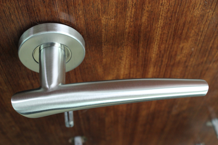 Silver Solid Lever Handle