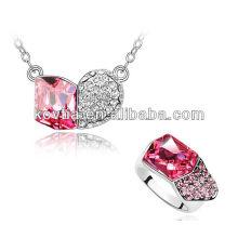 Personalidade moda vermelho cristal dubai jóias exclusivas conjunto