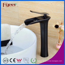 Fyeer High Body Orb Brass Waterfall Basin Faucet