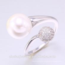 2018 ZheFan perla blanca y anillo de compromiso redondo y blanco CZ
