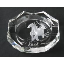 New Design Horse Laser Engraving Crystal Glass Cigar Ashtray (JD-YG-009)