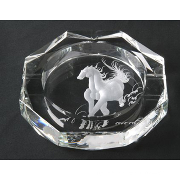 Новый дизайн лошадь лазерная гравировка хрусталя сигары Пепельница (СД-Ю. г.-009)