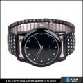 Montre à quartz peint à la montre mens noir, montres élastiques en acier inoxydable