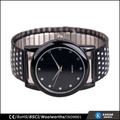Flash painting quartz watch mens black, stainless steel elastic bands watches