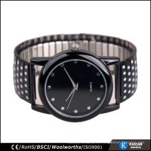 Reloj de cuarzo de pintura flash negro para hombre, relojes de acero inoxidable de las vendas elásticas