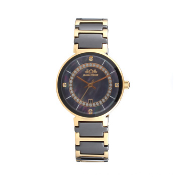 2017 Badatong Hot Selling Quartz Stainless Steel and Ceramic Watch Lady Mop Dial