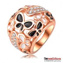 Anéis de borboleta esmalte pavimentar cristais austríacos anéis anel (ri-hq0210)
