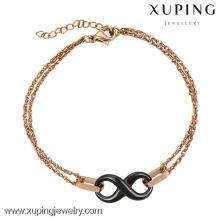 74416-xuping diseños de brazalete de acero dorado de 18k para niñas