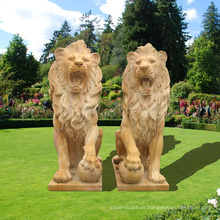 Stunning Large Sitting Granite Cast Lions Statue Garden Ornaments
